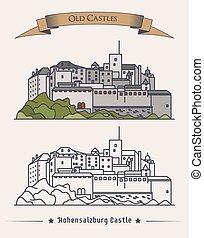 viejo, palacio, salzburg., heráldico, exterior, mountain., ...