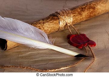 viejo, papel, antiguo, pergamino, rúbrica, con, sello de lacrar, y, pluma de remera
