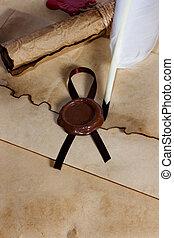 viejo, papel, antiguo, pergamino, rúbrica, sobre, con, sello de lacrar, y, pluma de remera