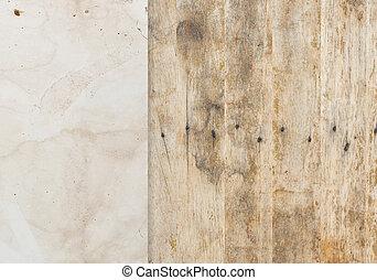 viejo, papel, con, madera, plano de fondo