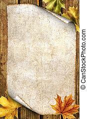 viejo, papel, con, otoño sale, en, madera