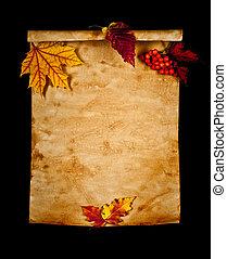 viejo, papel, con, otoño sale, otoño, nota