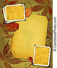 viejo, papel, con, photo-frameworks