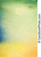 viejo, papel, con, resumen, painting:, textured, plano de fondo, con, verde, azul, y, naranja, patrones, en, amarillo, telón de fondo., para, arte, textura, grunge, diseño, y, vendimia, papel, /, frontera, marco
