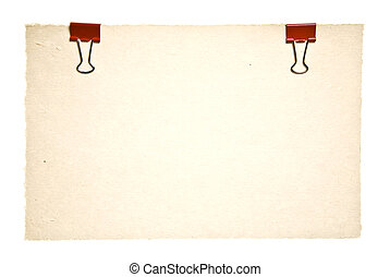 viejo, papel, con, rojo, clips