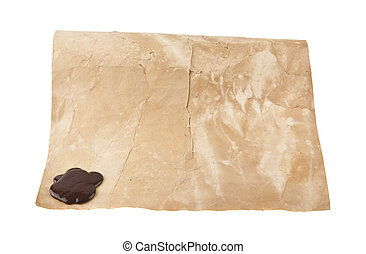 viejo, papel, con, sellar, sello, aislado, blanco, plano de fondo