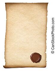 viejo, papel, con, sello de lacrar, o, oblea, aislado