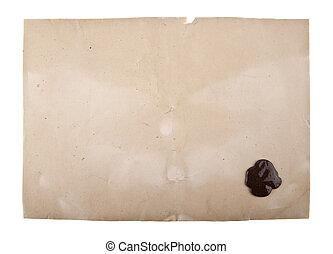 viejo, papel, con, un, sello de lacrar