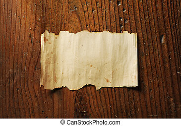 viejo, papel, en, de madera, plano de fondo
