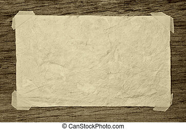 viejo, papel, en, el, madera, plano de fondo