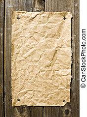 viejo, papel, en, oscuridad, textura de madera