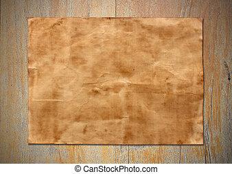 viejo, papel, hoja, en, viejo, madera, plano de fondo, textura