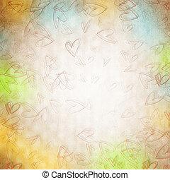 viejo, papel, plano de fondo, con, corazones
