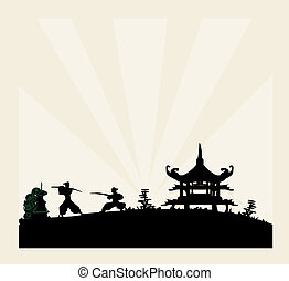 viejo, papel, silueta, samurai