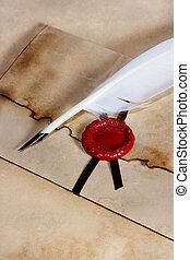 viejo, papel, sobre, de, antiguo, pergamino, con, sello de lacrar, y, pluma de remera