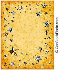 viejo, papel, y, estrellas
