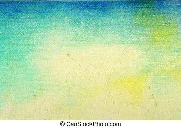 viejo, paper:, resumen, textured, background:, azul, amarillo, y, verde, patrones, en, beige, fondo