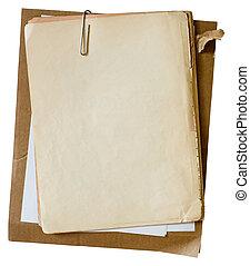 viejo, paperclip, papeles