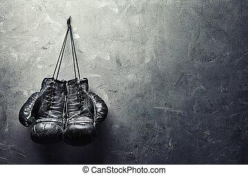 viejo, pared, boxeo, cuelgue, textura, clavo, guantes