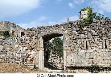 viejo, pared, casa, dentro, knin, croacia, puerta, fortaleza
