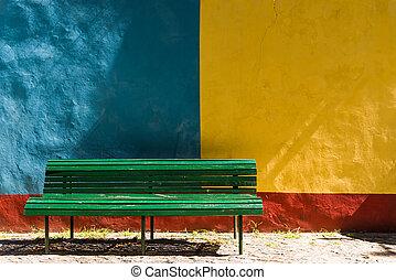 viejo, pared, colorido, casa, verde, edificio., retro,...