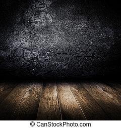 viejo, pared concreta, y, de madera, floor., diseño,...