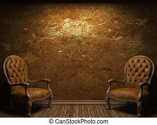 viejo, pared concreta, y, silla