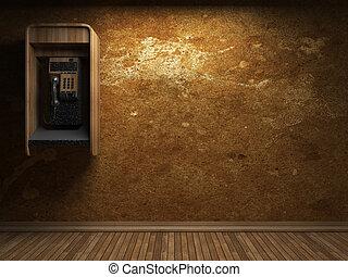 viejo, pared concreta, y, teléfono