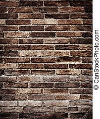 viejo, pared ladrillo, grungy, textura