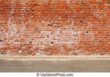 viejo, pared ladrillo, y, camino, calle