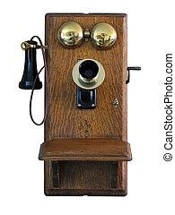 viejo, pared, teléfono