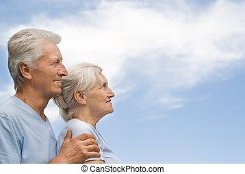 viejo, pareja, descansar