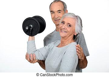 viejo, pareja, hacer, condición física