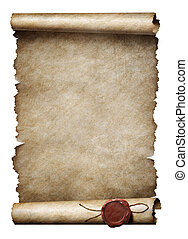 viejo, parhment, rúbrica, con, sello de lacrar