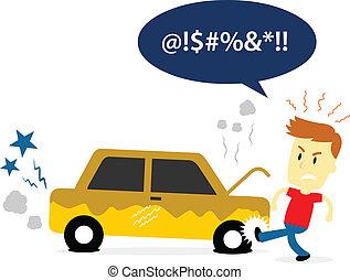 viejo, patear, coche, roto, neumático, hombre