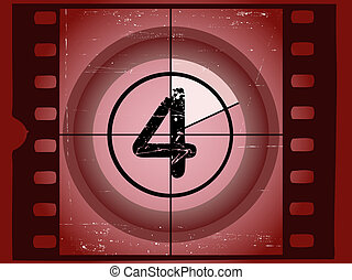 viejo, película, -, 4, rasguñado, rojo, cuenta atrás