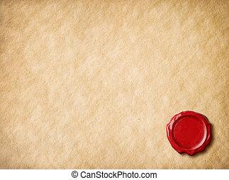 viejo, pergamino, papel, con, rojo, sello de lacrar