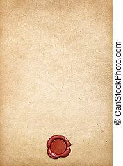 viejo, pergamino, papel, plano de fondo, con, rojo, sello de lacrar