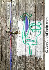 viejo, pintado, triste, de madera, puerta, cara