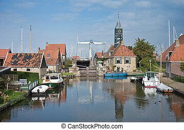 viejo, pintoresco, aldea, pesca, holandés, hindelopen, seafront