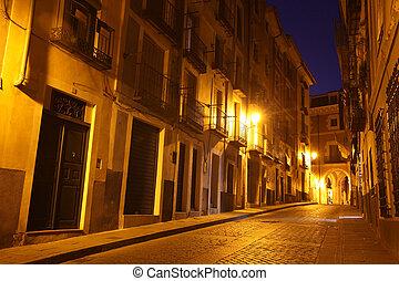 viejo, pintoresco, calle, españa, noche, cuenca., vista