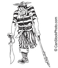 viejo, pirata, one-legged