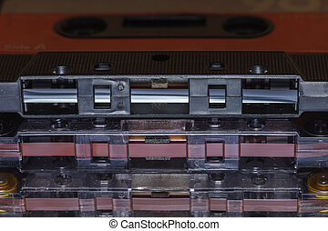 viejo, plástico, música, cassettes
