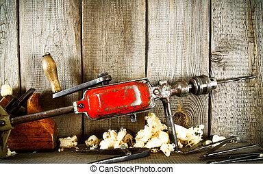 viejo, (plane, shelf., de madera, drill), herramientas