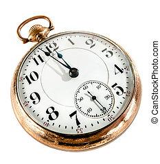 viejo, plano de fondo, aislado, relojde bolsillo, blanco