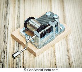 viejo, poco, caja de la música, en, el, de madera, plano de fondo, estilo retro
