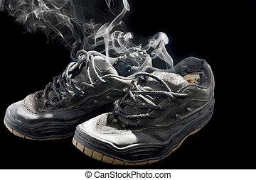 viejo, podrido, zapatillas