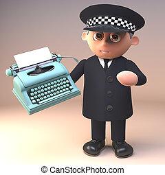 viejo, policía, carácter, ilustración, uniforme, tenencia, ...