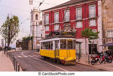 viejo, portugal, tranvía, -, calle, lisboa