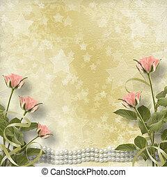 viejo, postal, vendimia, rosas, perlas, felicitación
